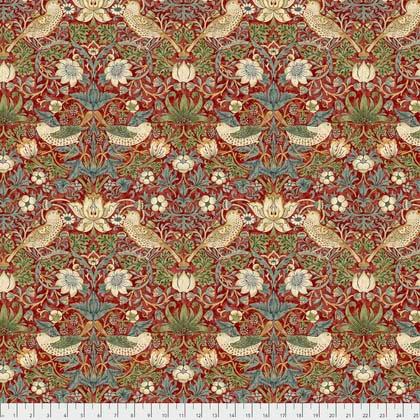William Morris & Co. Morris & Co., Kelmscott Strawberry Thief in Red, Fabric Half-Yards PWWM001