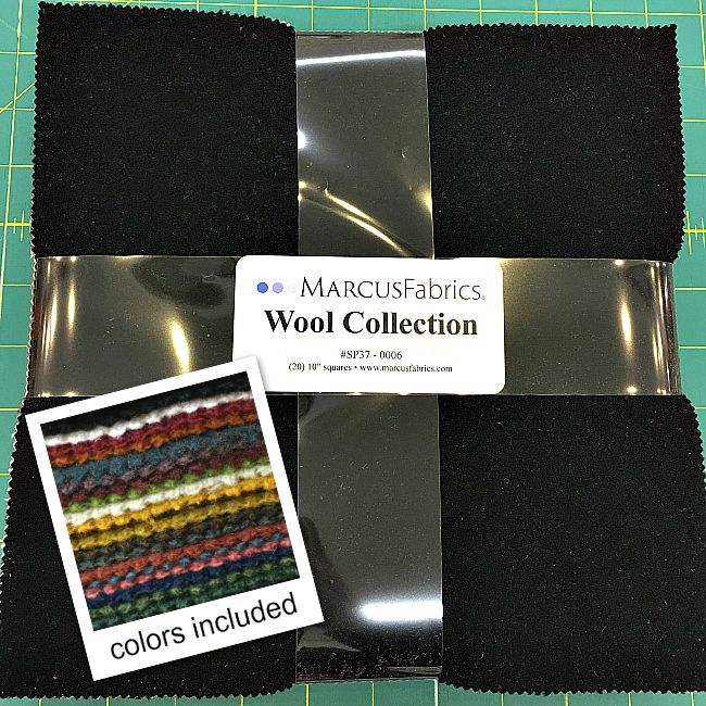 """Marcus Fabrics Wool Collection in Warm - bundle contails (20) 10"""" squares"""