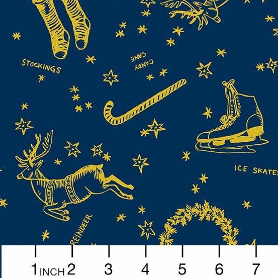 Andover Fabrics Good Cheer, Deck the Halls in Winter Night, Fabric Half-Yards A-8712-MB