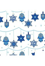 Christmas Collection Festival of Lights, Peace, Love and Light for Hannukah in Starlight, Dinner Napkin