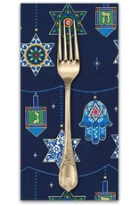 Christmas Collection Festival of Lights, Peace, Love and Light for Hannukah in Royal, Dinner Napkin