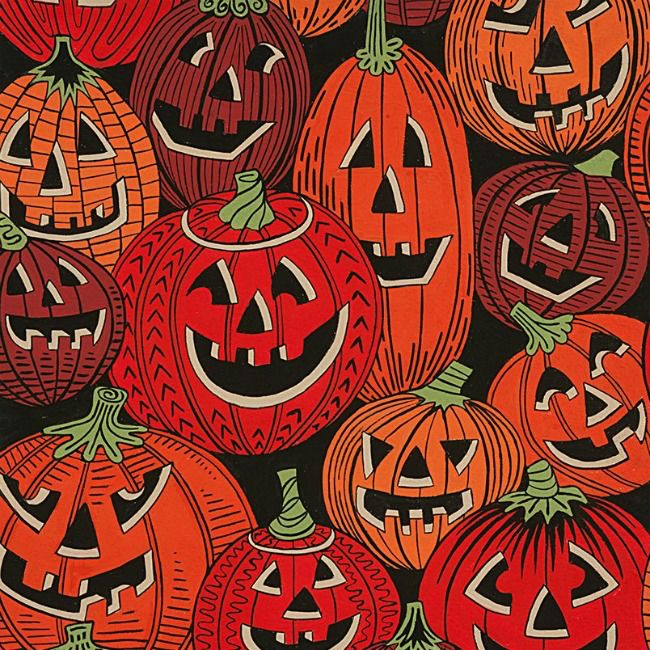 Alexander Henry Fabrics Haunted House, Jack O'Laughter in Black Halloween, Fabric Half-Yards 8665A