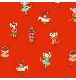 Heather Ross ON SALE-Sugarplum, Nutcracker Mice in Red, Fabric Half-Yards 50166