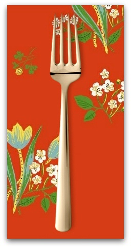 PD's Heather Ross Collection Kinder, Spring Blooms in Red, Dinner Napkin