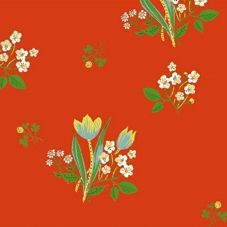 Heather Ross ON SALE-Kinder, Spring Blooms in Red, Fabric Half-Yards 43482