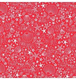 Michael Miller Just Shellin, Seashore in Red, Fabric Half-Yards DC8172