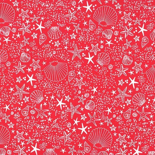 PD's Michael Miller Collection Just Shellin, Seashore in Red, Dinner Napkin
