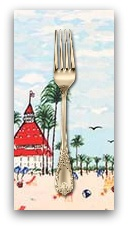 PD's Michael Miller Collection Just Shellin, Seaside Panel in Blue, Dinner Napkin