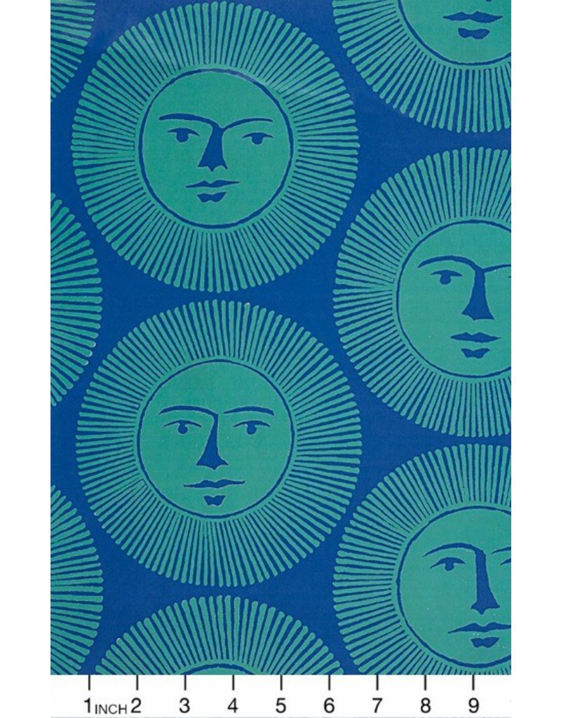 Alexander Henry Fabrics ON SALE-Nicole's Prints, Here Comes the Sun in Blue, Fabric Half-Yards 8679D