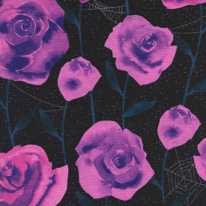 Cotton + Steel ON SALE-Eclipse, Roses in Black with Metallic, Fabric Half-Yards  C5196-001