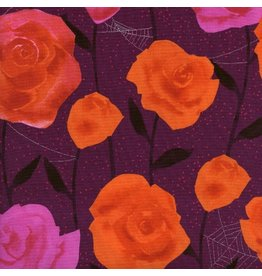 Cotton + Steel ON SALE-Eclipse, Roses in Wine with Metallic, Fabric Half-Yards  C5196-002