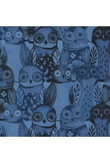 Cotton + Steel Eclipse, Wise Owls in Blue, Fabric Half-Yards  C5195-002