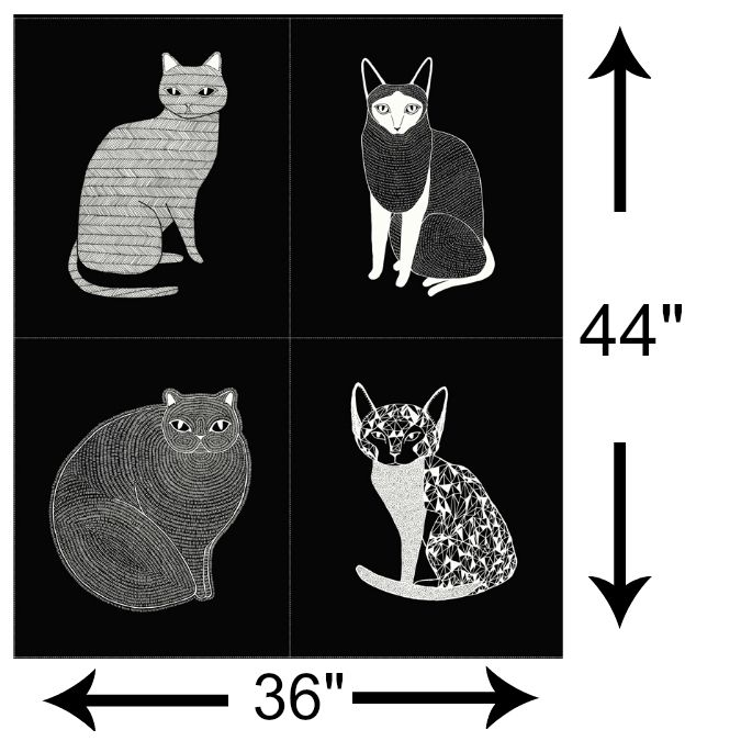 "Gingiber Catnip, Catnip Panel in Black, 36"" Fabric Panel 48230 14"
