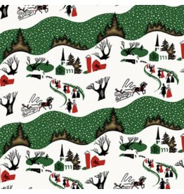 Free Spirit Mid-Century Christmas, Winter Village in Traditional, Fabric Half-Yards PWFS045