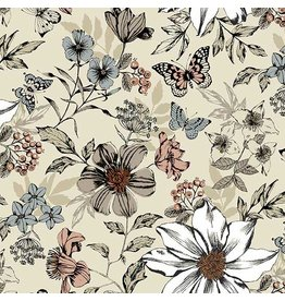 Andover Fabrics ON SALE-Dream, Botanica Large Floral in Cream, Fabric Half-Yards TP-1862-Q