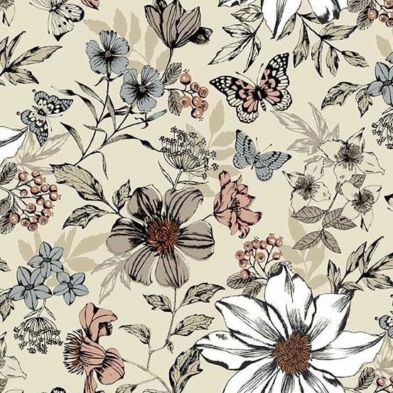 Andover Fabrics ON SALE-Dream, Botanica Large Floral in Cream, Fabric Half-Yards TP-1862-Q