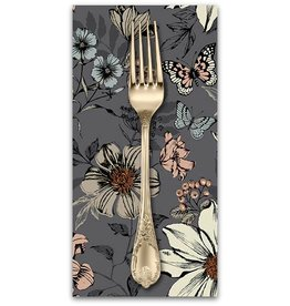 PD's Andover Collection Dream, Botanica Large Floral in Silver, Dinner Napkin