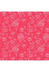 Andover Fabrics ON SALE-Mosaic, Rose Outlines in Cherry, Fabric Half-Yards A-8882-E