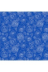 Andover Fabrics Mosaic, Rose Outlines in True Blue, Fabric Half-Yards A-8882-B