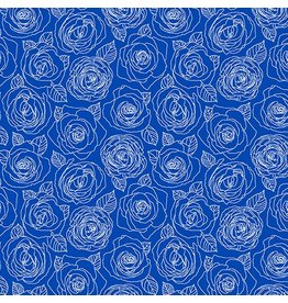 Andover Fabrics ON SALE-Mosaic, Rose Outlines in True Blue, Fabric Half-Yards A-8882-B