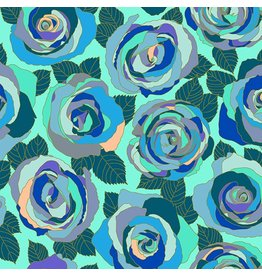 Andover Fabrics ON SALE-Mosaic, Mosaic Roses in Wintergreen, Fabric Half-Yards A-8880-B