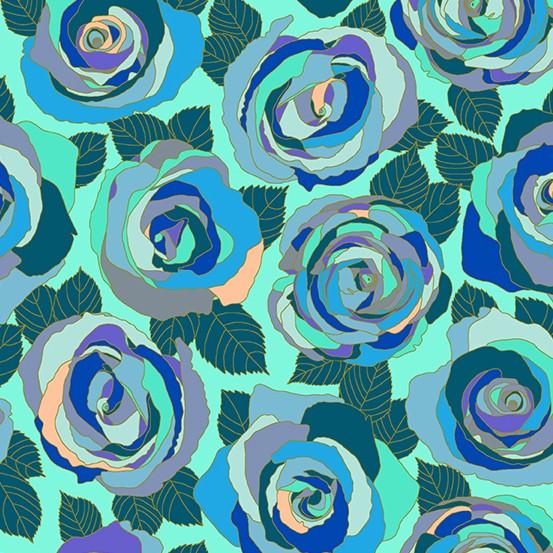 Andover Fabrics Mosaic, Mosaic Roses in Wintergreen, Fabric Half-Yards A-8880-B