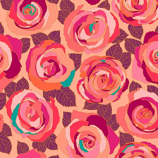 Andover Fabrics Mosaic, Mosaic Roses in Radiance, Fabric Half-Yards A-8880-E