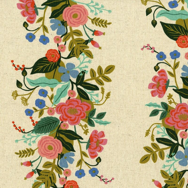 Rifle Paper Co. Linen/Cotton Canvas, English Garden, Floral Vines in Cream, Fabric Half-Yards AB8067-012