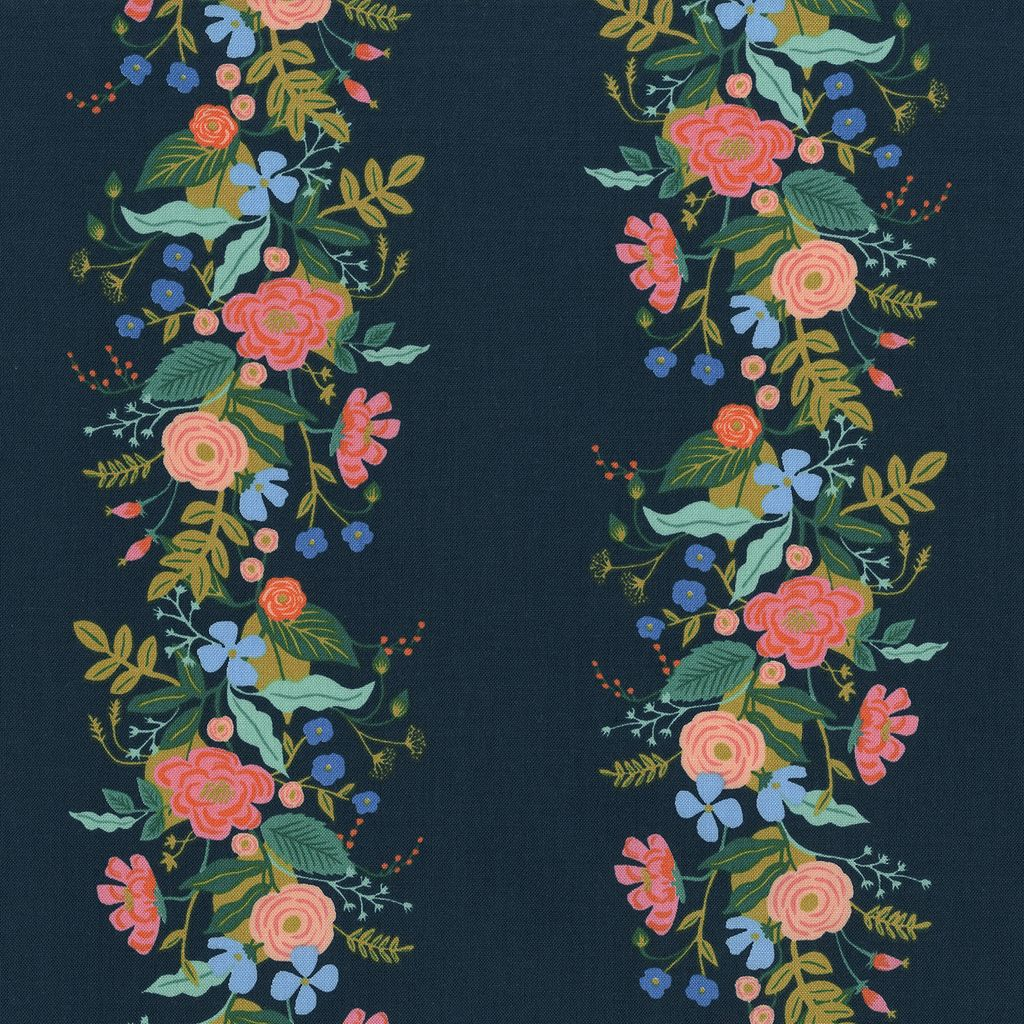 Rifle Paper Co. English Garden, Floral Vines in Dark, Fabric Half-Yards AB8058-002