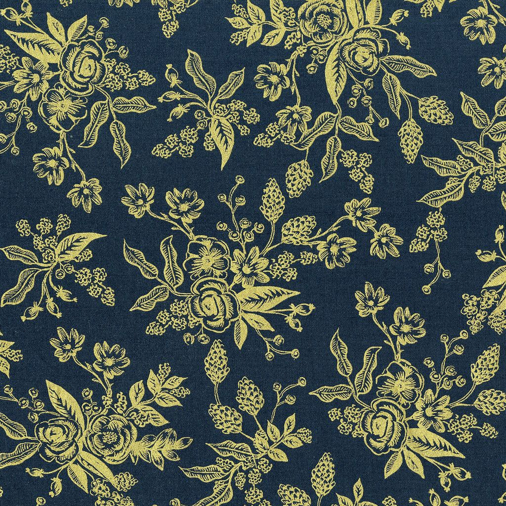 Rifle Paper Co. ON SALE-English Garden, Toile in Navy with Gold Metallic, Fabric Half-Yards AB8060-002