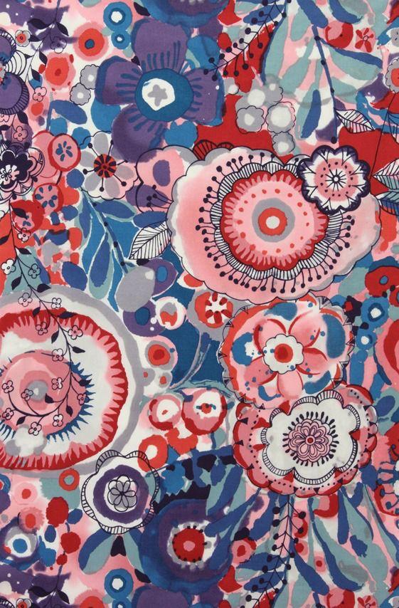 Alexander Henry Fabrics Cotton Lawn, AH Larkspur in Bloom, in Multi, Fabric Half-Yards L7428B