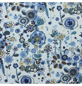 Alexander Henry Fabrics Cotton Lawn, AH Larkspur Meadow in Indigo, Fabric Half-Yards L7423D