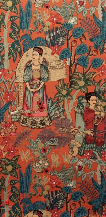 Alexander Henry Fabrics Folklorico, Fridas Garden in Terra Cotta, Fabric Half-Yards 6752CR