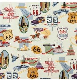 Alexander Henry Fabrics Nicole's Prints, Route 66 in Natural Bizness, Fabric Half-Yards 1585AR