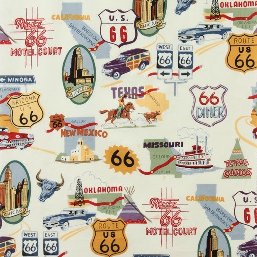 Alexander Henry Fabrics Nicole's Prints, Route 66 in Natural Bizness, Fabric Half-Yards 1585AR