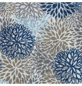 Shannon Fabrics Double Gauze, Embrace, Premium Blooms in Blue, Fabric Half-Yards