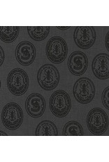 Robert Kaufman ON SALE-Sewing with Singer, Labels in Charcoal, Fabric Half-Yards AGZ-17850-184