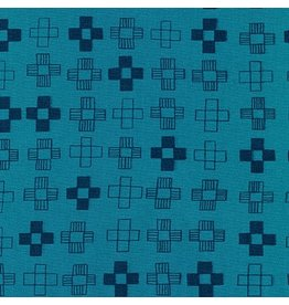 Karen Lewis ON SALE-Blueberry Park, Plus in Teal Blue, Fabric Half-Yards AWI-17466-403