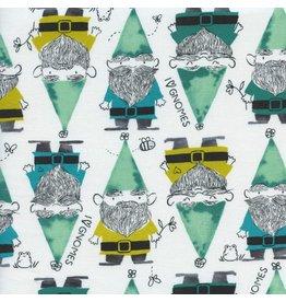 Sarah Watts Front Yard, Gnomes in Green, Fabric Half-Yards S2069-001