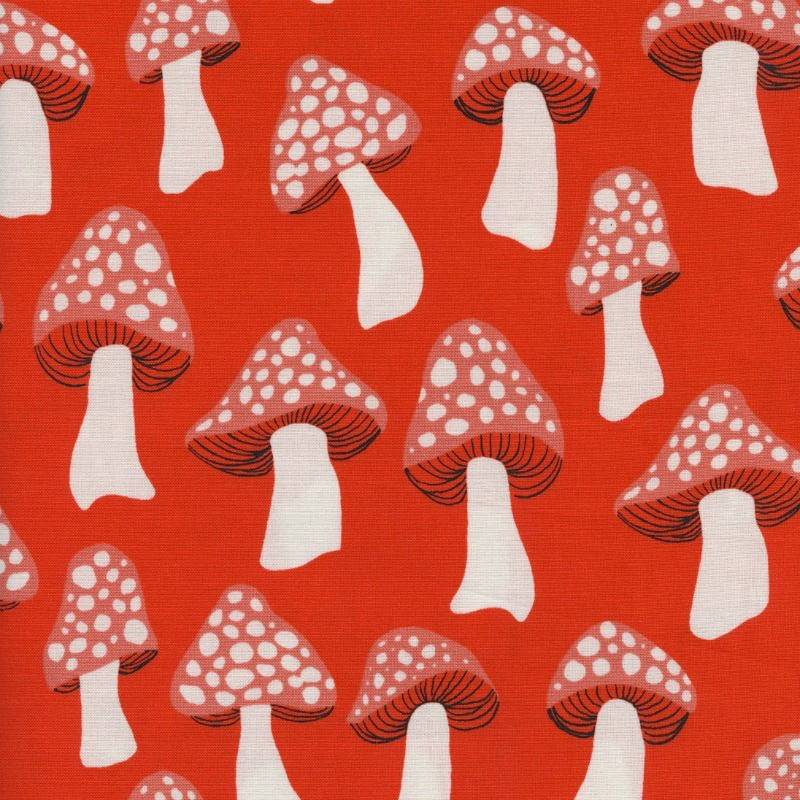 PD's Sarah Watts Collection Front Yard, Mushrooms in Red, Dinner Napkin