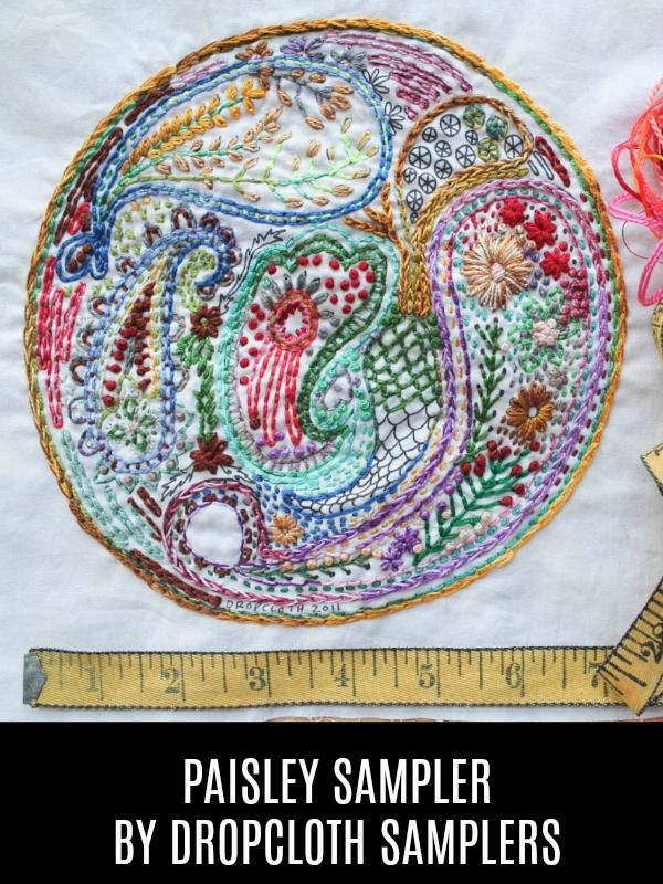 Dropcloth Samplers Paisley Sampler, Embroidery Sampler from Dropcloth Samplers