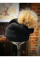 Irena Geerts 100% Alpaca hat with pom pom fur