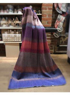 Jeté en laine d'Alpaga - Bleu/rouge/pourpre