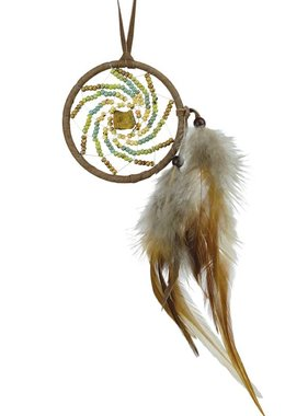 "2.5"" Dream Catcher with picasso beads and tiger eye semi-precious stones - BROWN"