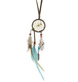 """1"""" Dream Catcher with quartz crystal - BROWN/TURQUOISE"""