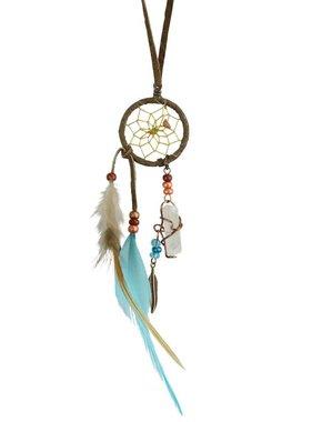 "1"" Dream Catcher with quartz crystal - BROWN/TURQUOISE"