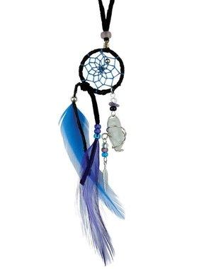 "1"" Magical Dream Catcher with quartz crystal - BLACK."