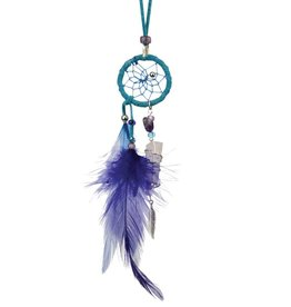 """1"""" Magical Dream Catcher with quartz crystal - TURQUOISE."""