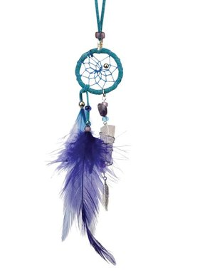 "1"" Magical Dream Catcher with quartz crystal - TURQUOISE."