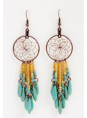 "1"" Dream Catcher Earrings - copper - picasso glass beads"